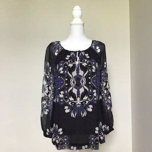 Tory Burch Blue Floral Silk Blouse